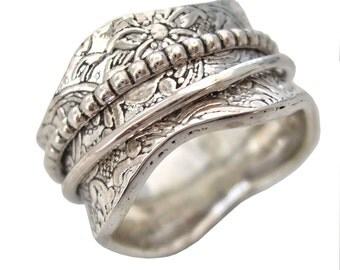 """Energy Stone """"ARCHAIC"""" Sterling Silver Meditation Spinning Ring with Spinners Floral and Leaf Pattern Antique Finish (Style# US17)"""