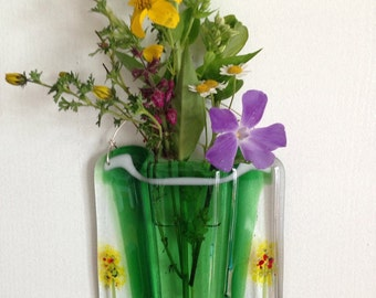 Fused Glass Wall Vase, Fused Glass Pocket Vase, Reed Diffuser Holder for Home Fragrance