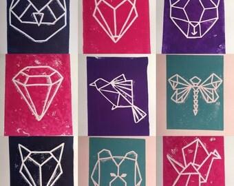 Geometric Animal Linocut Print (Cat, Owl, Fox, Crane, Dragonfly, Bear, Diamond, Bird)