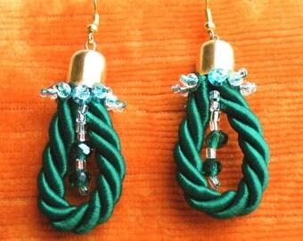 Orecchini in cordone e cristalli - Earrings lanyard and crystals