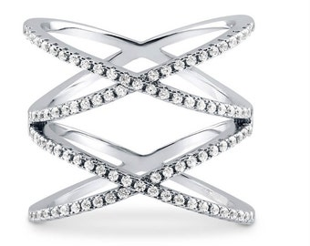 X Ring, Criss Cross Ring Double 'X' ring,  925 Sterling Crossed over Silver Pave Diamond CZ Knuckle Double X, Celebrity Style Ring