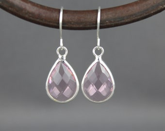 Pink clear glass earrings faceted teardrop pendant silver dangle lightweight small dainty wedding jewelry bridesmaid gift
