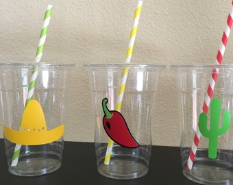 Fiesta party cups, Fiesta Birthday Party Cups, Fiesta Baby Shower, Cinco De Mayo Party Cups, Taco Party Cups