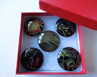 Black Japanese Chess Washi Magnet Set of five