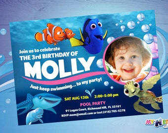 Finding Dory Birthday Invitation. Customize it with the photo of your child! Dory, Marlin & Destiny. Finding Dory Birthday Ideas.