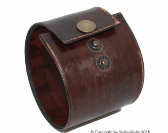 SB genuine leather bracelet first class leather cuff men's bracelet handmade leather wristband worn brown