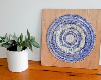 Woven Wall Hanging, Circular Weaving in White and Periwinkle, 12 inch by 12 inch