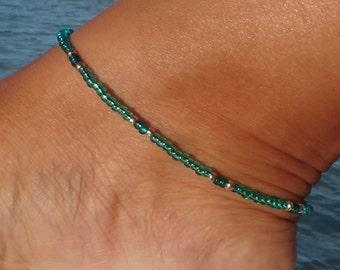 Aqua Green Ankle bracelet, Green anklet, Beach Anklet, summer anklet
