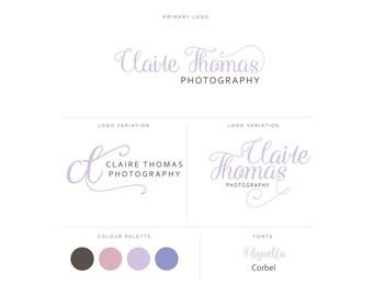 Branding Package - Photography Logo and Watermark - Handwritten Calligraphy Script - Logo Design - Watermark - Premade Marketing Kit - BPL15
