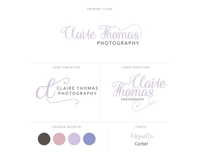 Branding Package - Photography Logo and Watermark - Handwritten Calligraphy Script - Logo Design - Watermark - Premade Marketing Kit - BPL15