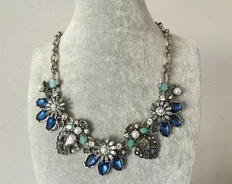Silver & Rhinestone Collar Necklace
