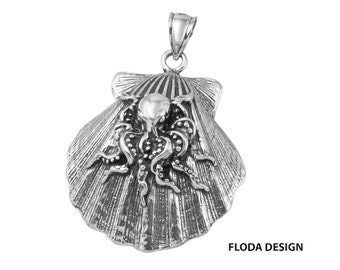 Seashell with Octopus Pendant in Sterling Silver, Nautical Jewelry, Seashell Jewelry, Octopus Jewelry FD-14-9