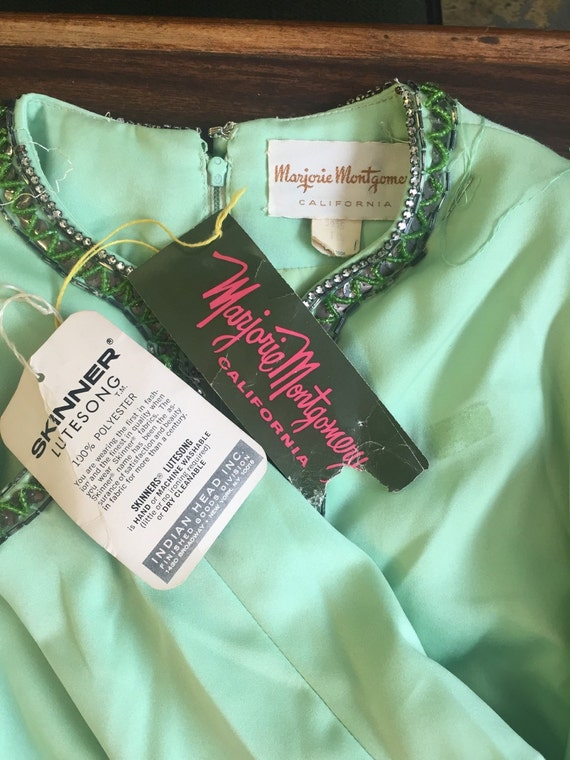 Mint green 70s hand embroidered indian dress Marjorie Montgomery size 10 NWT