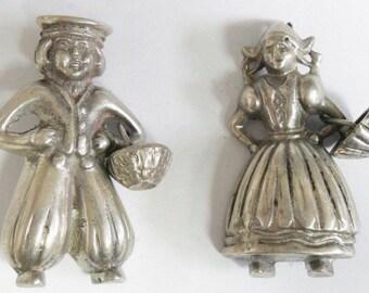Vintage Silver Ana Sosa Dutch Boy & Girl Brooch Set RARE Jack Jill Hanzel Gretyl