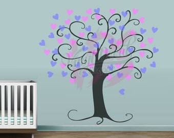 Large Tree Wall Decal, Heart Tree Wall Decal, Extra Large Wall Decal, Nursery Wall Decal, Tree Decal, Nursery Decor, Baby Room Decor, Decals