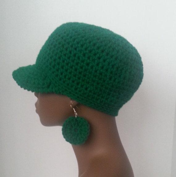 crochet baseball cap and earrings set green crochet baseball