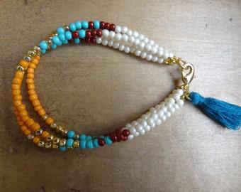 Bracelet Pearl multi-stranded with Pompom. wrap bracelet, Acorn, jewellery boho bohemian Bohemia