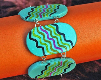 Cuff Bracelet - Handmade Polymer Clay Tile Bracelet - Turquoise Bracelet - Neo-Primitive - Modernist Artisan  - Gorgeous Snake !