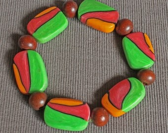 Bead Bracelet - Handmade  Polymer Clay Tile Bead Bracelet - Green Bracelet - OOAK - Vibrant  Abstract Colored Bracelet