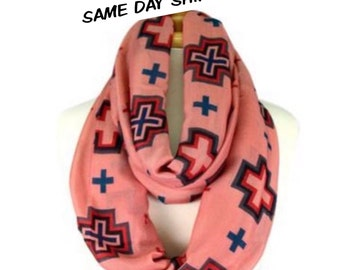 Mauve with Multi-Color Cross Infinity Scarf, Pink Infinity Scarf, Spring Scarf, Spring Scarf, Lightweight Scarf,