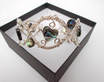 Abalone wire wrapped bracelet, wire wrapped jewelery , silver bracelet , gemstone jewelry , abalone jewelery, wire jewelery, wire wrapped