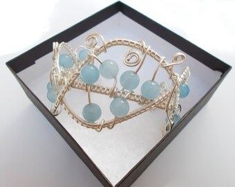 Blue bracelet , silver bracelet , wire wrapped bracelet , wire wrapped jewelry , wire jewelry , wire bracelet , jade bracelet ,cuff bracelet