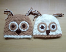 Baby Crochet Owl Hat for 0 - 6 months owl bonnet, photo outfit, boys or girls, baby clothes, hat UK knit. Animal hat woodland hat twin twins