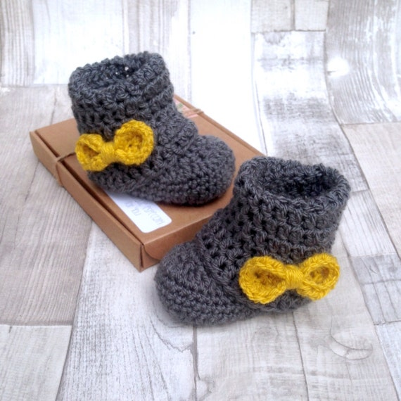 Baby booties, crocheted booties with bows charcoal grey, mustard yellow, girls boots, newborn gift, crochet booties, baby shower gift, baby