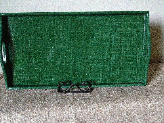Wooden tray vinegar painted in green