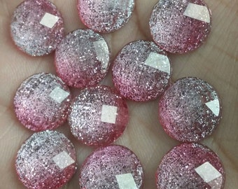 Faceted pink glitter 12mm resin cabochon- 8pcs (F2:9-585)