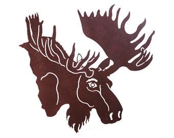 Bull Moose Head Laser Cut Wall Art Mural