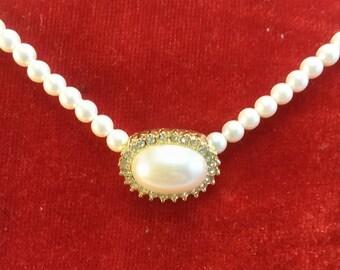 SALE Vintage Monet faux pearl and rhinestone choker