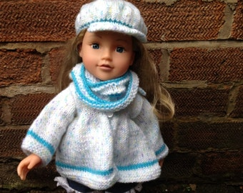 Hand Knitted Dolls Coat Hat and Cowl Set to fit 18 inch doll such as American Girl doll ,DesignaFriend or Similar