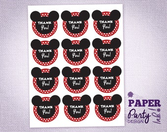Mickey Mouse Party Thank You Tags, Mickey Thank You Tags, Mickey Thank You Favor Tags, Mickey Party Thank You Labels and Tags