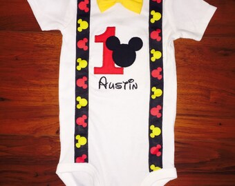 Mickey Mouse Inspired Birthday Shirt/Onesie with Suspenders