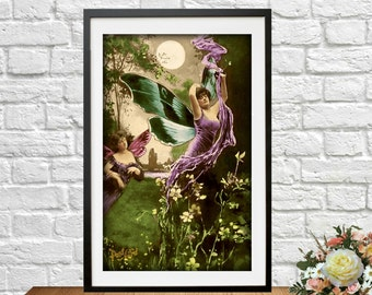 Printable Fairy French Two Fairies Postcard Butterfly Ephemera Photograph Instant Download Art Nouveau Woman Altered Art Vintage Digital