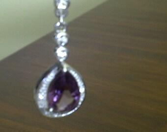 Beautiful Signed Roman Faux Amethyst/Austrian Crystal Pendant Necklace