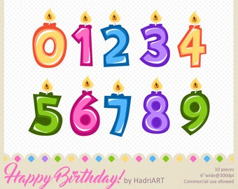 Birthday Candles Clip Art Numbers