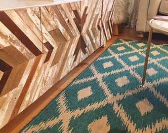 Reclaimed Lath Wooden Chevron Media Center / Console with Patterned Doors