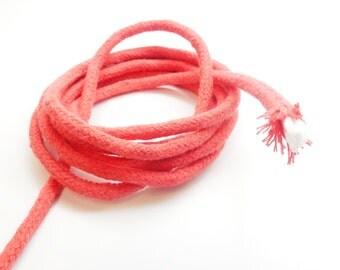 1 meter braided baker's cord, strawberry, 6 mm