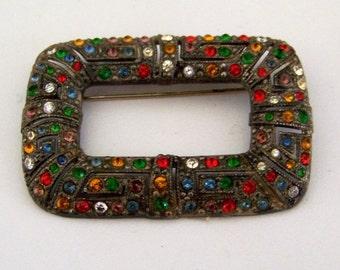 Vintage Art Deco pot metal pin/brooch with multi-coloured rhinestones