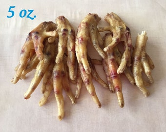 5 Ounces Yummy Chicken Feet - Dehydrated • All Natural •  Hickory Smoked • Yummy Dog Chews • Daphne's Dawggie Delights