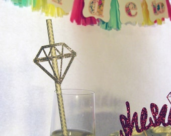 Set of 16 He Put a Ring On It Diamond Bridal Shower Straw Toppers