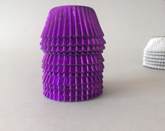 Purple foil Mini cupcake liners approx: 60