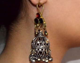 Afghan Kuchi Earring,Tribal Earring,Jingle,Bell Chandelier,Dangle,Filigree,Ethnic Dangle,Belly Dancing,Big Gypsy Boho Earring,Afghan Jewelry