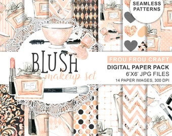 Makeup Digital Paper Pack Seamless Patterns Cosmetic Beauty Blog Fashion Watercolor Lipstick Brush Mascara Perfume Chick Blush Peach Pink