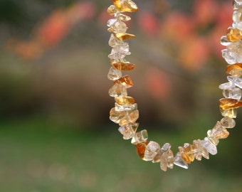 Citrine Stone Chip Necklace with Sterling Silver Toggle Clasp