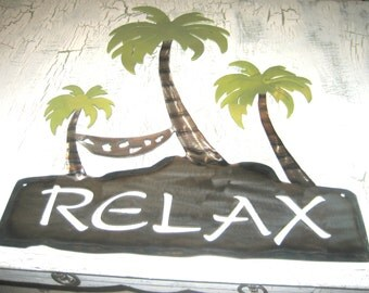 Relax Wall Decor. Palm Trees. Hammock. Wall Decor. Home Decor. Metal. Gift. Handmade. Decor. Relax. Cottage.