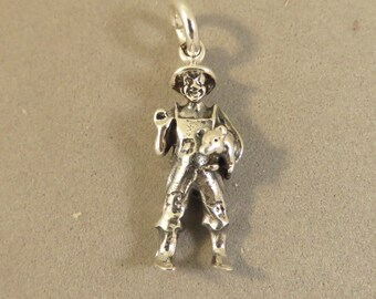 Sterling Silver 3-D FARMER with PIG Charm Pendant Hog .925 Sterling Silver New an87