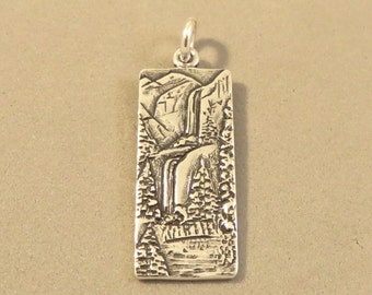 Sterling Silver YOSEMITE FALLS Charm Pendant National Park California Waterfall .925 Sterling Silver New tr130